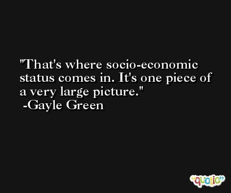 That's where socio-economic status comes in. It's one piece of a very large picture. -Gayle Green