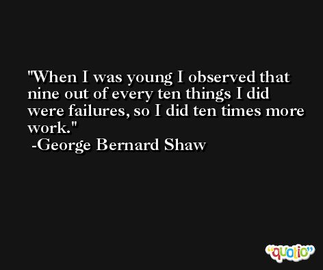When I was young I observed that nine out of every ten things I did were failures, so I did ten times more work. -George Bernard Shaw