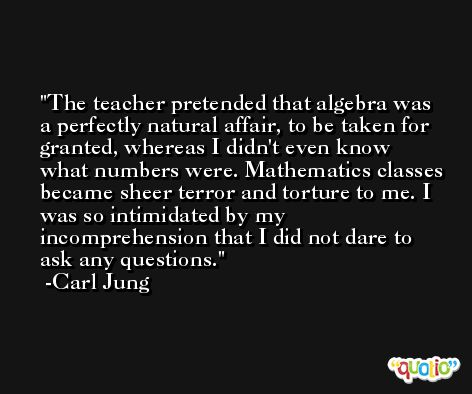 The teacher pretended that algebra was a perfectly natural affair, to be taken for granted, whereas I didn't even know what numbers were. Mathematics classes became sheer terror and torture to me. I was so intimidated by my incomprehension that I did not dare to ask any questions. -Carl Jung