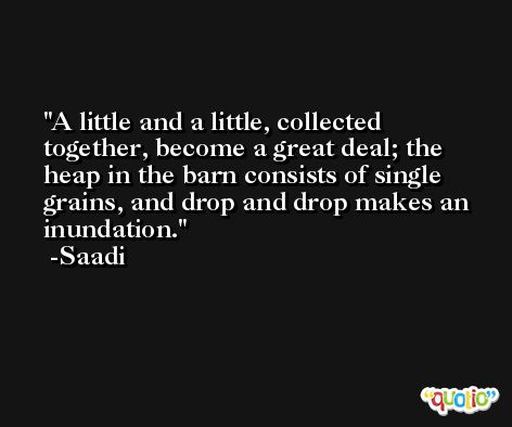 A little and a little, collected together, become a great deal; the heap in the barn consists of single grains, and drop and drop makes an inundation. -Saadi