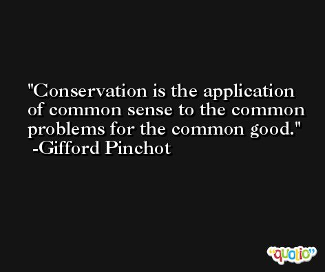 Conservation is the application of common sense to the common problems for the common good. -Gifford Pinchot