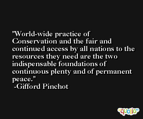 World-wide practice of Conservation and the fair and continued access by all nations to the resources they need are the two indispensable foundations of continuous plenty and of permanent peace. -Gifford Pinchot