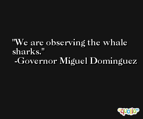 We are observing the whale sharks. -Governor Miguel Dominguez