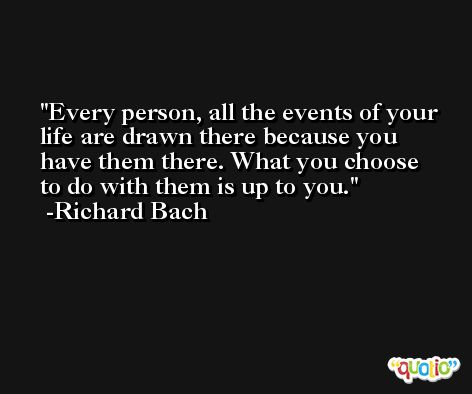 Every person, all the events of your life are drawn there because you have them there. What you choose to do with them is up to you. -Richard Bach