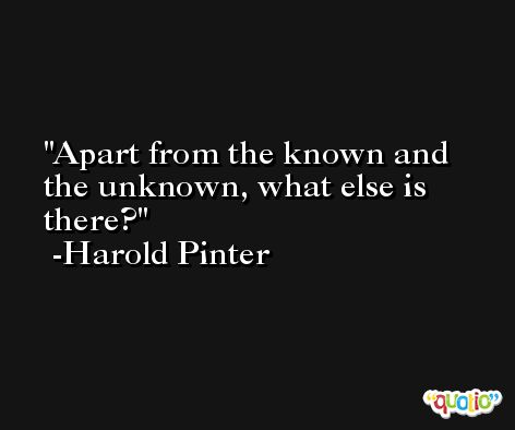 Apart from the known and the unknown, what else is there? -Harold Pinter