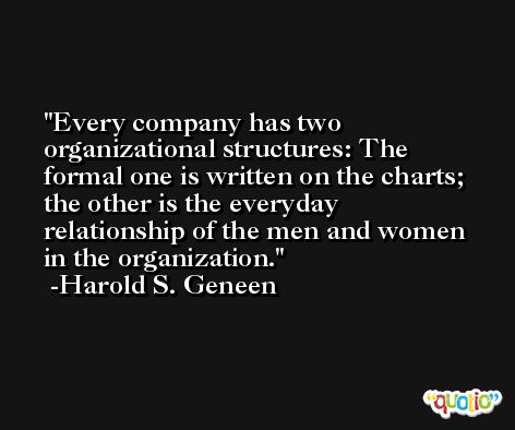 Every company has two organizational structures: The formal one is written on the charts; the other is the everyday relationship of the men and women in the organization. -Harold S. Geneen
