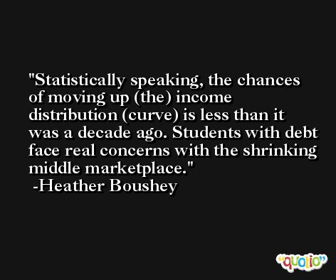 Statistically speaking, the chances of moving up (the) income distribution (curve) is less than it was a decade ago. Students with debt face real concerns with the shrinking middle marketplace. -Heather Boushey