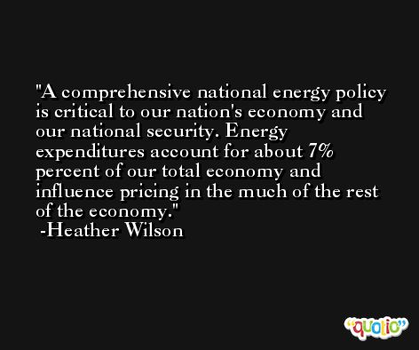 A comprehensive national energy policy is critical to our nation's economy and our national security. Energy expenditures account for about 7% percent of our total economy and influence pricing in the much of the rest of the economy. -Heather Wilson