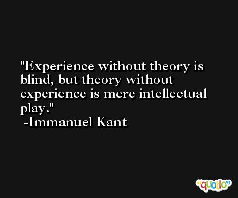 Experience without theory is blind, but theory without experience is mere intellectual play. -Immanuel Kant