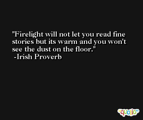 Firelight will not let you read fine stories but its warm and you won't see the dust on the floor. -Irish Proverb