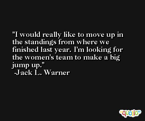 I would really like to move up in the standings from where we finished last year. I'm looking for the women's team to make a big jump up. -Jack L. Warner