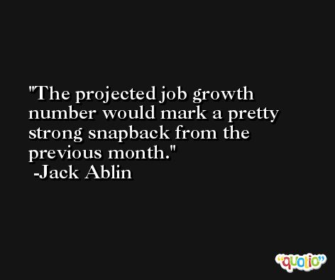 The projected job growth number would mark a pretty strong snapback from the previous month. -Jack Ablin