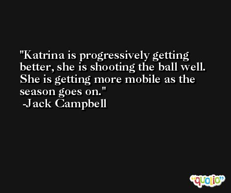 Katrina is progressively getting better, she is shooting the ball well. She is getting more mobile as the season goes on. -Jack Campbell