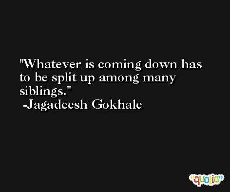Whatever is coming down has to be split up among many siblings. -Jagadeesh Gokhale