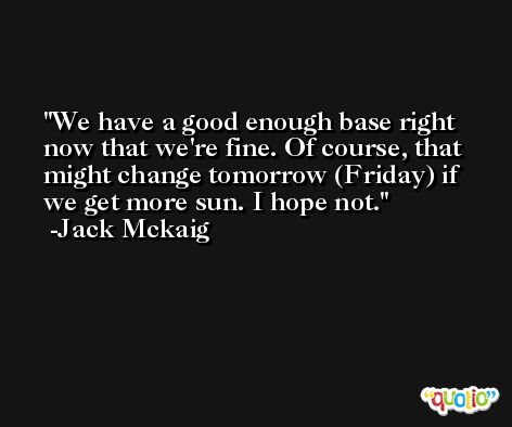 We have a good enough base right now that we're fine. Of course, that might change tomorrow (Friday) if we get more sun. I hope not. -Jack Mckaig