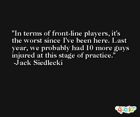 In terms of front-line players, it's the worst since I've been here. Last year, we probably had 10 more guys injured at this stage of practice. -Jack Siedlecki