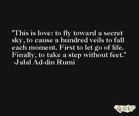 This is love: to fly toward a secret sky, to cause a hundred veils to fall each moment. First to let go of life. Finally, to take a step without feet. -Jalal Ad-din Rumi