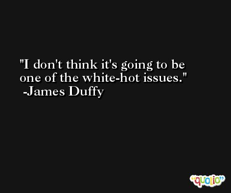 I don't think it's going to be one of the white-hot issues. -James Duffy