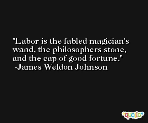 Labor is the fabled magician's wand, the philosophers stone, and the cap of good fortune. -James Weldon Johnson