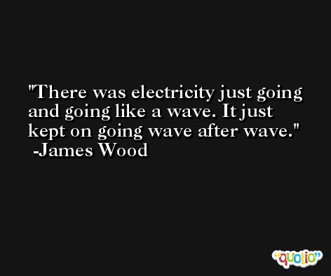 There was electricity just going and going like a wave. It just kept on going wave after wave. -James Wood