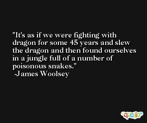 It's as if we were fighting with dragon for some 45 years and slew the dragon and then found ourselves in a jungle full of a number of poisonous snakes. -James Woolsey