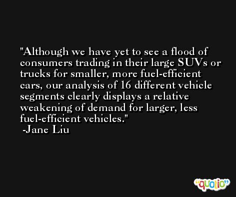 Although we have yet to see a flood of consumers trading in their large SUVs or trucks for smaller, more fuel-efficient cars, our analysis of 16 different vehicle segments clearly displays a relative weakening of demand for larger, less fuel-efficient vehicles. -Jane Liu