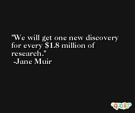 We will get one new discovery for every $1.8 million of research. -Jane Muir