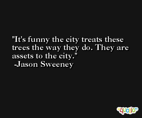 It's funny the city treats these trees the way they do. They are assets to the city. -Jason Sweeney