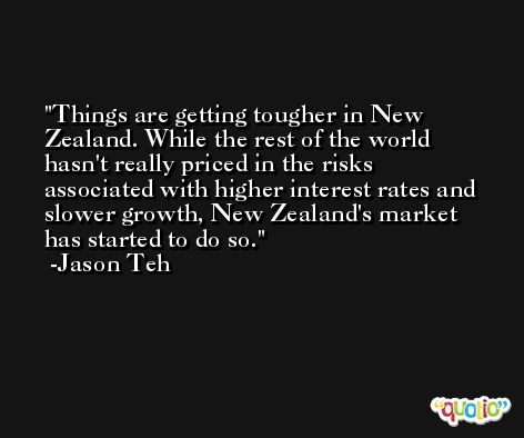 Things are getting tougher in New Zealand. While the rest of the world hasn't really priced in the risks associated with higher interest rates and slower growth, New Zealand's market has started to do so. -Jason Teh