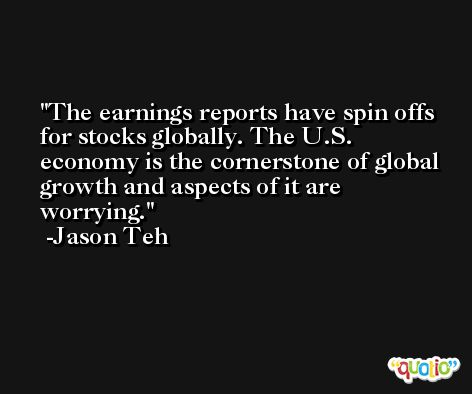 The earnings reports have spin offs for stocks globally. The U.S. economy is the cornerstone of global growth and aspects of it are worrying. -Jason Teh