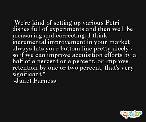 We're kind of setting up various Petri dishes full of experiments and then we'll be measuring and correcting. I think incremental improvement in your market always hits your bottom line pretty nicely - so if we can improve acquisition efforts by a half of a percent or a percent, or improve retention by one or two percent, that's very significant. -Janet Farness