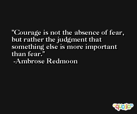 Courage is not the absence of fear, but rather the judgment that something else is more important than fear. -Ambrose Redmoon