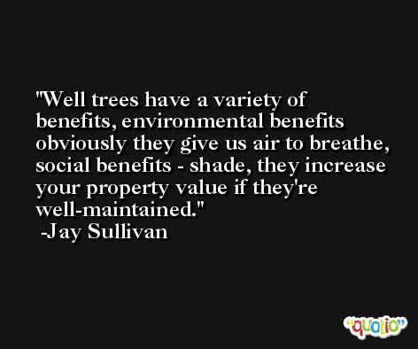 Well trees have a variety of benefits, environmental benefits obviously they give us air to breathe, social benefits - shade, they increase your property value if they're well-maintained. -Jay Sullivan