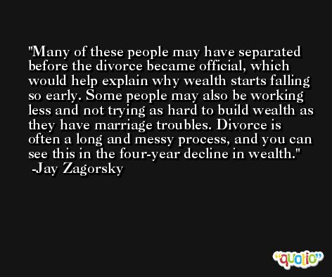 Many of these people may have separated before the divorce became official, which would help explain why wealth starts falling so early. Some people may also be working less and not trying as hard to build wealth as they have marriage troubles. Divorce is often a long and messy process, and you can see this in the four-year decline in wealth. -Jay Zagorsky