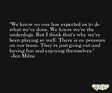 We know no one has expected us to do what we've done. We know we're the underdogs. But I think that's why we've been playing so well. There is no pressure on our team. They're just going out and having fun and enjoying themselves. -Jen Milne