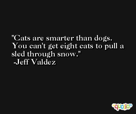 Cats are smarter than dogs. You can't get eight cats to pull a sled through snow. -Jeff Valdez