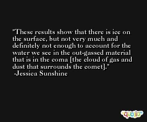 These results show that there is ice on the surface, but not very much and definitely not enough to account for the water we see in the out-gassed material that is in the coma [the cloud of gas and dust that surrounds the comet]. -Jessica Sunshine