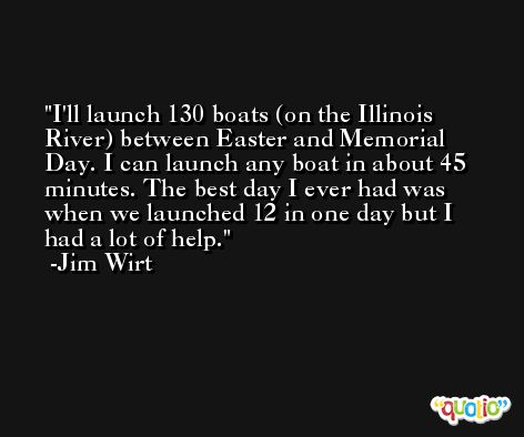 I'll launch 130 boats (on the Illinois River) between Easter and Memorial Day. I can launch any boat in about 45 minutes. The best day I ever had was when we launched 12 in one day but I had a lot of help. -Jim Wirt