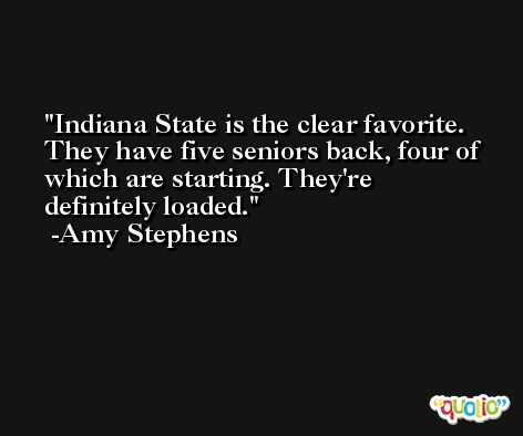 Indiana State is the clear favorite. They have five seniors back, four of which are starting. They're definitely loaded. -Amy Stephens