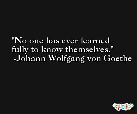 No one has ever learned fully to know themselves. -Johann Wolfgang von Goethe
