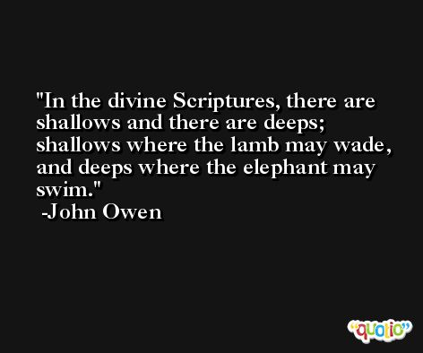 In the divine Scriptures, there are shallows and there are deeps; shallows where the lamb may wade, and deeps where the elephant may swim. -John Owen