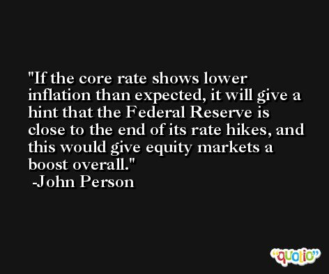 If the core rate shows lower inflation than expected, it will give a hint that the Federal Reserve is close to the end of its rate hikes, and this would give equity markets a boost overall. -John Person