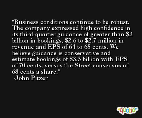 Business conditions continue to be robust. The company expressed high confidence in its third-quarter guidance of greater than $3 billion in bookings, $2.6 to $2.7 million in revenue and EPS of 64 to 68 cents. We believe guidance is conservative and estimate bookings of $3.3 billion with EPS of 70 cents, versus the Street consensus of 68 cents a share. -John Pitzer