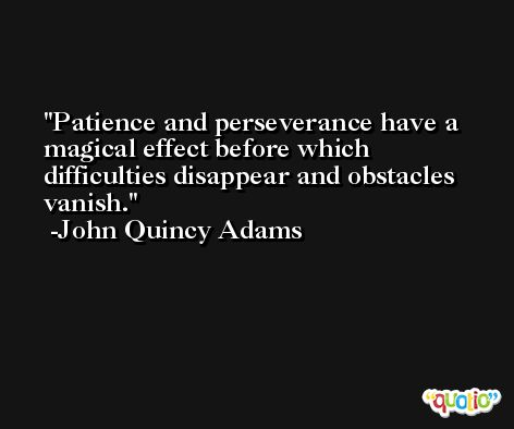 Patience and perseverance have a magical effect before which difficulties disappear and obstacles vanish. -John Quincy Adams