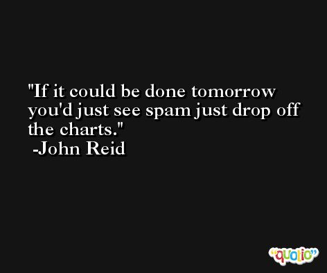 If it could be done tomorrow you'd just see spam just drop off the charts. -John Reid
