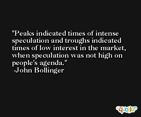Peaks indicated times of intense speculation and troughs indicated times of low interest in the market, when speculation was not high on people's agenda. -John Bollinger