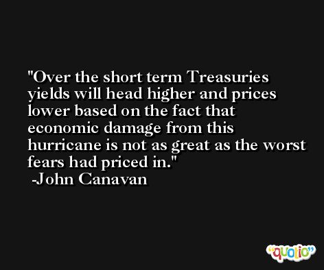 Over the short term Treasuries yields will head higher and prices lower based on the fact that economic damage from this hurricane is not as great as the worst fears had priced in. -John Canavan