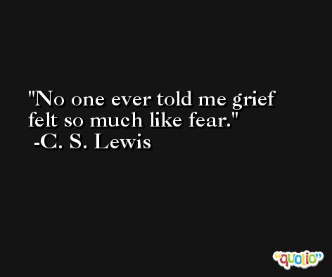 No one ever told me grief felt so much like fear. -C. S. Lewis