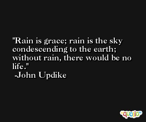 Rain is grace; rain is the sky condescending to the earth; without rain, there would be no life. -John Updike