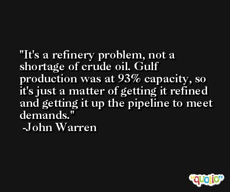 It's a refinery problem, not a shortage of crude oil. Gulf production was at 93% capacity, so it's just a matter of getting it refined and getting it up the pipeline to meet demands. -John Warren